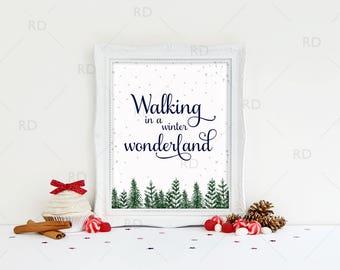 Walking in a Winter Wonderland - PRINTABLE Wall Art / Winter Wonderland / Christmas Printable / Christmas Print / Christmas Lyrics Art