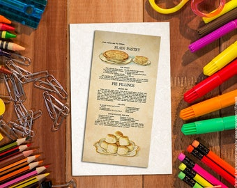 Shabby chic bookmark. Food bookmark. Paper bookmark. Bakery art. Plain pastry. Patisserie, pies. Food art print. Vintage food illustration