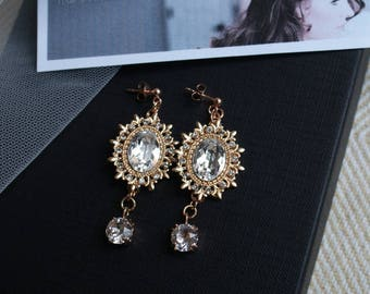 Rose Gold Bridal Earrings - Chandelier Earrings  in Rose Gold -  Rose Gold Wedding jewellery - Rose Red Rose White - Rose Red Accessories UK