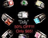 Rockin Out Jewelry - Dolly - Sterling Silver - Bold - Beautfiful - Western Style - Ring - 8mm - CZ - Colored Stones - Statement - Antiqued