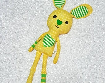 Yellow love bunny, bunny doll, bunny toy