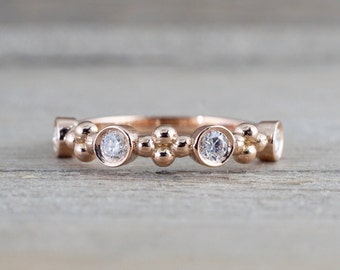 14k Rose Gold Bead Bezel Diamond Wedding Anniversary Love Ring Band