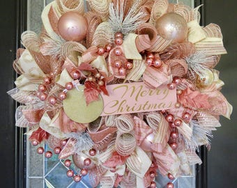 Rose Gold Christmas Wreath, Christmas Decoration, Elegant Wreath, Deco Mesh, Front door wreath, Wreath for Door