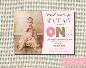 Donut Birthday Invitation, Donut Party Birthday Invitation, Donut Invitation, Donut First Birthday Invitation, Digital Printable Invitation