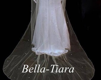 FREE SHIPPING, scattered crystal wedding veil, crystal cathedral veil, cathedral veil and blusher, pearl and rhinestone cathedral veil