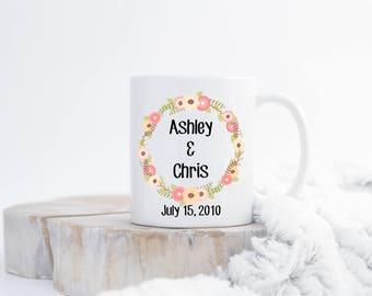 Custom Wedding Coffee Mug, Wedding Gift, Wedding Keepsake, Ceramic Coffee Mug, Newly Wed Gift, Personalized Gift, Sublimated Coffee Mug