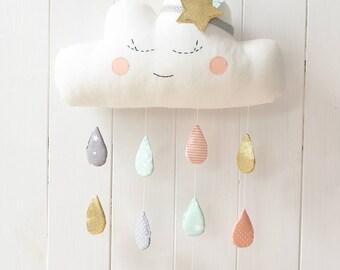 Cloud Mobile Cloud Pillow Cloud Baby Mobile Cloud Mobile Nursery Cloud Mobile Raindrops Cloud Mobile Baby Nursery Decor cloud wall hanging
