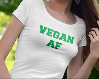 Vegan AF T-Shirt Ladies Mens Unique Design Fruits Vegetables Veggies Gift Fresh Trendy Cute Heart Love Animal Rights Funny Varsity College
