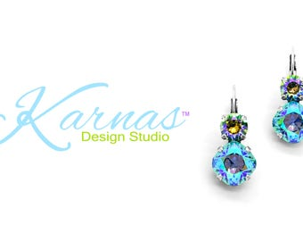 GREEN WITH ENVY 12mm/8mm Crystal Cushion Cut Earrings Swarovski Elements *Pick Your Finish *Karnas Design Studio™ *Free Shipping*