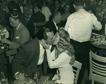Instant Download Estimated 1940s vintage photo picture kissing love New Year's Eve party Printable Art print