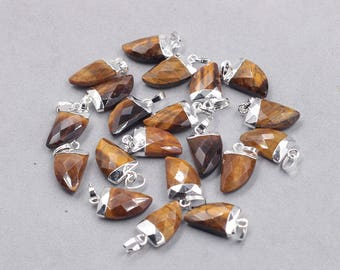 16mm Faceted Tiger Eye Small Horn Pendants -- With Electroplated Silver Edge Gemstone Charms Wholesale Supplies YHA-329