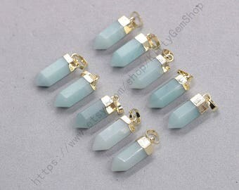18mm Point Amazonite Pendants -- With Electroplated Gold Edge Gemstone Charms Wholesale Supplies YHA-337