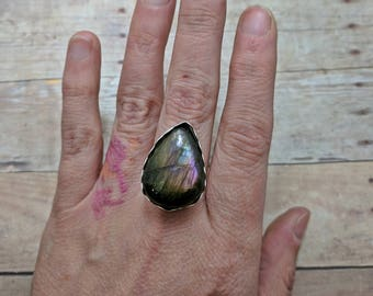 Purple Labradorite Teardrop Sterling Silver Ring Custom Sized, 6 7 8 9 10, handmade gift for her, spring fashion, southwest, easter jewelry