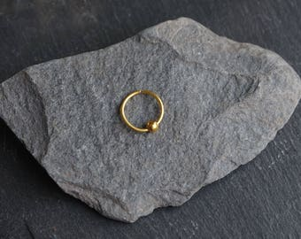 Gold nose ring with gold bead Nose Hoop endless nose ring endless nose hoop gold captive ring nose stud thin nose ring body jewellery