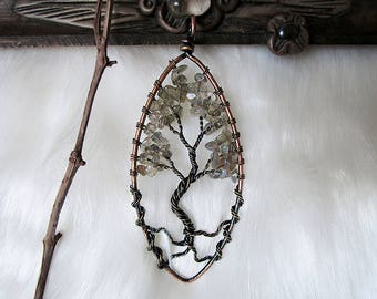 Labradorite Tree of Life, Yggdrasil Pendant, Wisdom Tree Pendant, Copper Tree of Life