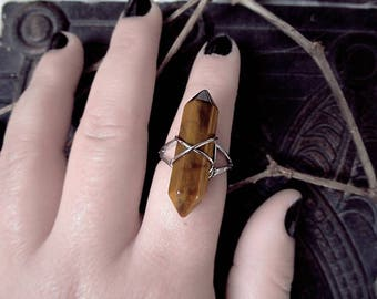 Tiger Eye Crystal Point Ring, Earth Ring, Brown and Yellow Stone Ring, Adjustable Ring, Witch Ring