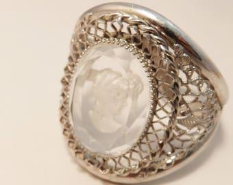 Silver Tone Whiting & Davis Cameo Hinged Bracelet