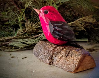 Scarlet Tanager, Carved Wooden Bird,