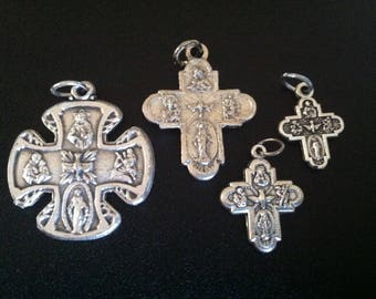 4-way, Four way holy medals - cross - Holy Spirit, Miraculous Medal, Sacred Heart, Jesus Christ, Religious, Faith, Evangelization