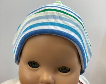 "15 inch Bitty Baby Doll Hat, Cool ""GREEEN & BLUE Striped"" Doll HAT, 15 inch Bitty Baby Clothes /Twin Doll, 15 inch Baby Doll Clothes"