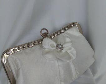 White off white light ivory and silver rhinestone wedding bridal evening prom summer wedding clutch purse BBsCustomClutches