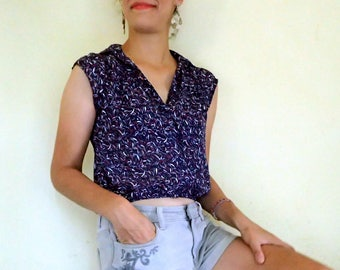navy blue top /  sleeveless blouse / floral button up top / japanese vintage top