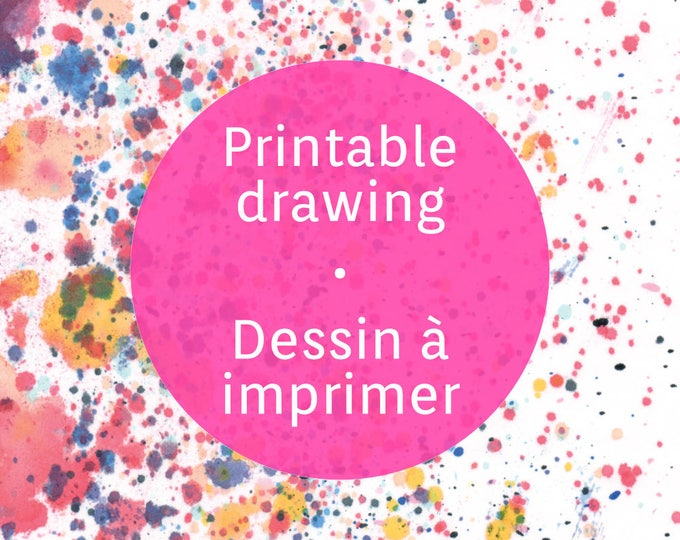 Printable abstract drops sheet, colorful drops to download