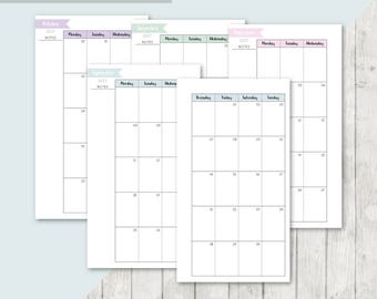 SC-PERS | 2017-2018 Month On 2 Pages Printable Planner Insert - 2017 2018 Monthly Two Pages Personal Inserts Filofax Calendar Printable Page