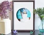 Winter art, Printable art, Print Wall Art, Christmas Gift, Paper Art, Sweet Home art, Home Art Print, Office Decor, Kids Room, Blue Wall Art