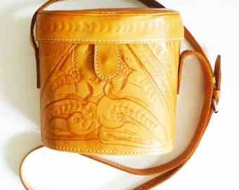 Tooled Leather Box Shoulder Bag