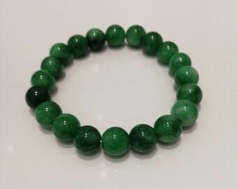 "Imperial green Jadeite ""翡翠"" icy bead bracelet grade A"