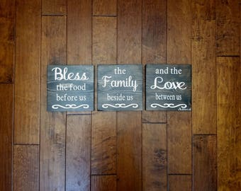 Bless the food before us/ the Family beside us/ and the Love between us - Kitchen Decor - Kitchen Sign - Wood Kitchen Sign
