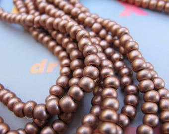 Classic Copper Seed Beads Metallic Rocailles Medium Copper Glass Czech Beads Opaque Tone 4mm Pony E Size 6 Matte Seed Beads Frosted Metallic