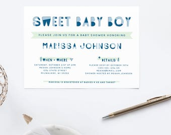 Sweet Baby Boy // Baby Shower Invite // Printable Invitation  // Printable Baby Shower Invite // Shower Invitation // The Busy Bee