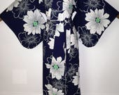 Vintage Japanese Authentic Yukata Cotton Kimono Robe Dressing Gown Shortened to Create a Matching Belt Blue with White  Green Flowers