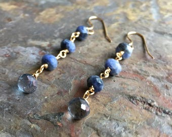 Sodalite and iolite gemstone gold dangle earrings