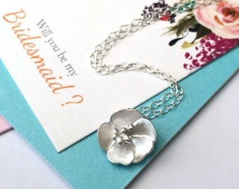 Buttercup Necklace, Rosa Primula Necklace, Silver Flower Neckalce, Wedding Jewelry, Bridesmaid Necklace, Birthday Gift, Thank You, Gift Card