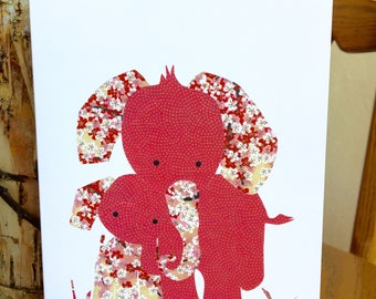 Elephant Hugs Card, Mother and Baby Elephant, African card, cut paper art, baby greeting card, nursery, kids card, baby elephant