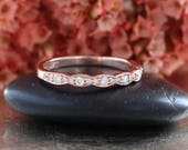 Vintage Inspired Diamond Wedding Band in 14k Rose Gold for Floral Engagement Ring, Anniversary Ring, Half Eternity Ring, Stacking Ring