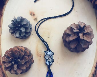 Hemp Wrapped Clear Quartz Necklace ~ Black Hemp ~ Unisex ~ Earthy ~ Healing ~ Boho ~ Mental Clarity ~ Strength ~ Amplification of energies ~