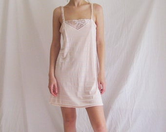 80s Pointelle and Lace Chemise S