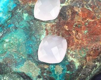 Natural Set Pink Rose Quartz Faceted Rectangle Gemstones 12mm x 10mm x 5mm