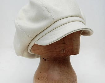 Cream baker boy cap, French baker boy cap, wool baker boy cap, peaky blinder cap, tweed baker boy cap, cream newsboy cap, Womens captain cap