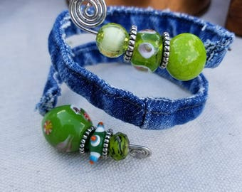 Recycled Denim Bracelet with Green Beads Made From the Hem of Blue Jeans