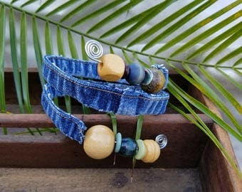 Large Recycled Denim Wire Wrapped Bracelet Adorned with Recycled Wooden Beads