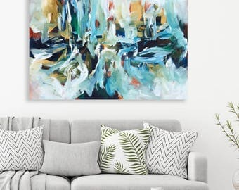 NEW: Original Large Abstract Painting On Canvas By Omar Obaid - Blue Canvas Art - Wall Art - Abstract Landscape Ready To Hang Abstract Art
