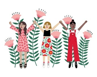 A4 Girl Flower Power Art print | Botanical wall art | Flower illustration | floral fashion painting | home decor gift | graphic design