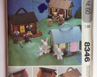 Vintage McCall's Pattern 8346 Soft Cloth Miniature House, Furniture for Bear, Mouse and Rabbit Families from 1980's uncut