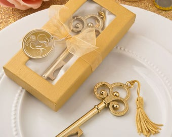 Gold Vintage Design Skeleton Key Bottle Opener  - Wedding Bridal Shower Party Favor 20-72 Qty  FC4239
