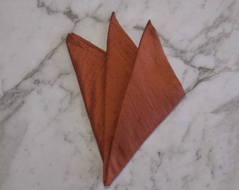 The 'Rhett' orange silk pocket square